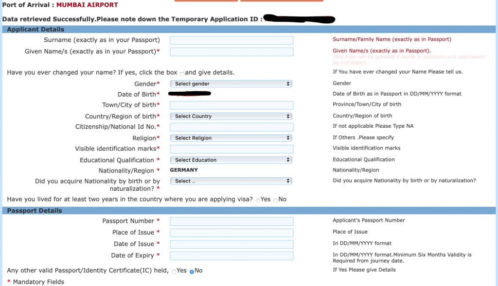 visado india online
